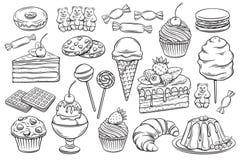 Konfekt- och sötsaksymboler royaltyfri illustrationer
