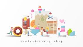 Konfekt shoppar royaltyfri illustrationer