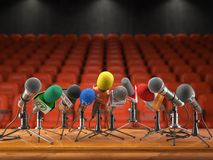 Konferenci prasowej lub wywiadu wydarzenia pojęcie Mikrofony dif ilustracji