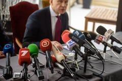 Konferencja prasowa Ilmars Rimsevics obrazy stock