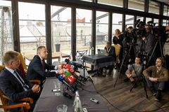 Konferencja prasowa Ilmars Rimsevics fotografia stock