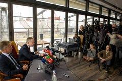Konferencja prasowa Ilmars Rimsevics obraz royalty free