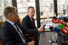 Konferencja prasowa Ilmars Rimsevics obrazy royalty free