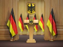 Konferencja prasowa lub odprawa najważniejszy minister conc Niemcy ilustracji