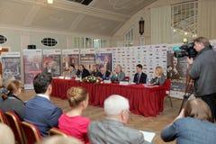 Konferencja prasowa organizatory festiwal sztuk kwadrat Zdjęcie Stock