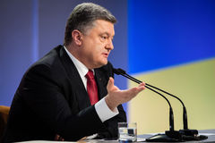 Konferencja prasowa prezydent Ukraina Poroshenko Fotografia Royalty Free