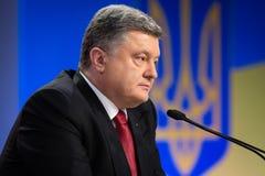 Konferencja prasowa prezydent Ukraina Poroshenko Obraz Stock