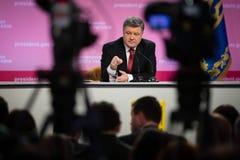 Konferencja prasowa prezydent Ukraina Poroshenko Zdjęcie Royalty Free