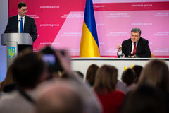 Konferencja prasowa prezydent Ukraina Poroshenko Obrazy Royalty Free