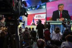 Konferencja prasowa prezydent Ukraina Poroshenko Zdjęcia Stock
