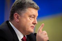 Konferencja prasowa prezydent Ukraina Poroshenko Fotografia Stock