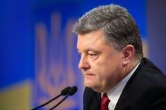 Konferencja prasowa prezydent Ukraina Poroshenko Obrazy Stock
