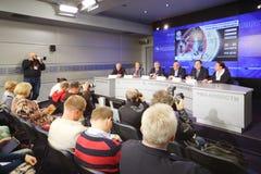 Konferencja prasowa przed międzynarodową koszykówka turnieju filiżanką fotografia royalty free