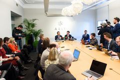 Konferencja prasowa przy ABLV bankiem obraz royalty free