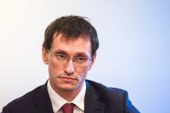 Konferencja prasowa przy ABLV bankiem w Ryskim zdjęcia stock