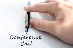 Konferencja telefoniczna teksta pojęcie obrazy royalty free