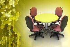 Konferencyjni round stołu i biura krzesła w pokoju konferencyjnym Zdjęcia Stock
