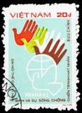 Konferencyjny emblemat, Światowego pokoju konferencji Praga «83 seria, około 1984 fotografia royalty free
