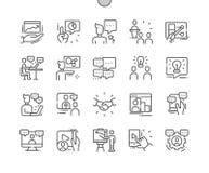 Konferens Brunn-tillverkad linje raster 2x för symboler 30 för perfekt vektor för PIXEL tunn för rengöringsdukdiagram och Apps vektor illustrationer