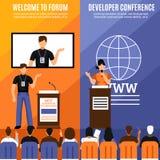 Konferens Hall Interior Vertical Banner Set vektor illustrationer