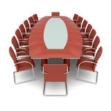 konferens isolerad tabell Arkivfoto