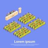 Konferens isometriska Hall Meeting 3d för grupp för affärsfolk Stock Illustrationer