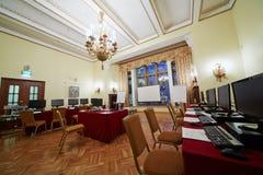 Konferens-korridor Orlikov i hotellet Hilton Leningradskaya Royaltyfri Foto
