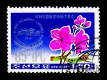 Konferensemblem och azalea, 85. konferens för Interparliamentary union, Pyongyang serie, circa 1991 Royaltyfri Foto