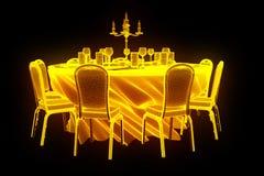 Konferenspartitabell med chiper i hologramWireframe stil Trevlig tolkning 3D royaltyfri illustrationer