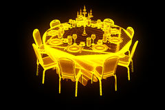 Konferenspartitabell med chiper i hologramWireframe stil Trevlig tolkning 3D stock illustrationer