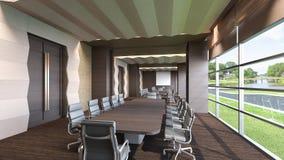 Konferensrum med den naturliga tolkningen sikt/3D Royaltyfri Foto