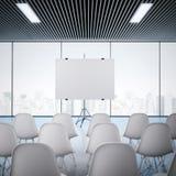 Konferensrum med den tomma skärmen framförande 3d Royaltyfri Fotografi