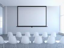 Konferensrum med den tomma skärmen framförande 3d Arkivfoto