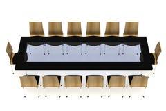 Konferenstabell med stolar Arkivbild