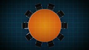 Konferenztisch ändert das Kreisdiagramm, angezeigt 100 Prozent Geschäftsraum, Konferenzzimmer lizenzfreie abbildung