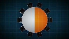 Konferenztisch ändert das Kreisdiagramm, angezeigt 50 Prozent Geschäftsraum, Konferenzzimmer lizenzfreie abbildung
