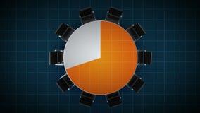 Konferenztisch ändert das Kreisdiagramm, angezeigt 70 Prozent Geschäftsraum, Konferenzzimmer lizenzfreie abbildung