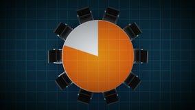 Konferenztisch ändert das Kreisdiagramm, angezeigt 80 Prozent Geschäftsraum, Konferenzzimmer lizenzfreie abbildung