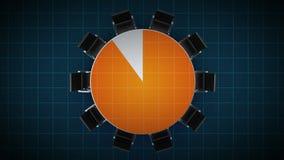 Konferenztisch ändert das Kreisdiagramm, angezeigt 90 Prozent Geschäftsraum, Konferenzzimmer stock abbildung