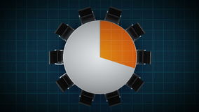 Konferenztisch ändert das Kreisdiagramm, angezeigt 30 Prozent Geschäftsraum, Konferenzzimmer stock abbildung