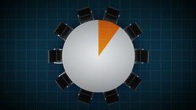 Konferenztisch ändert das Kreisdiagramm, angezeigt 10 Prozent Geschäftsraum, Konferenzzimmer lizenzfreie abbildung