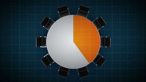 Konferenztisch ändert das Kreisdiagramm, angezeigt 40 Prozent Geschäftsraum, Konferenzzimmer lizenzfreie abbildung