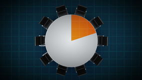 Konferenztisch ändert das Kreisdiagramm, angezeigt 20 Prozent Geschäftsraum, Konferenzzimmer vektor abbildung