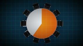 Konferenztisch ändert das Kreisdiagramm, angezeigt 20 Prozent Geschäftsraum, Konferenzzimmer stock abbildung