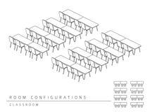 Konferenzzimmer-Einrichtungsplankonfiguration Klassenzimmerart Vektor Abbildung