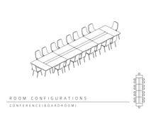 Konferenzzimmer-Einrichtungsplankonfiguration Konferenz-Sitzungssaal Stock Abbildung