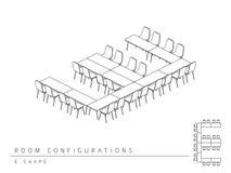 Konferenzzimmer gründete Plankonfiguration E Formart Stock Abbildung