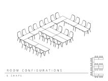 Konferenzzimmer gründete Plankonfiguration E Formart Lizenzfreie Abbildung