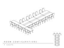 Konferenzzimmer gründete Plankonfiguration T Formart Stock Abbildung