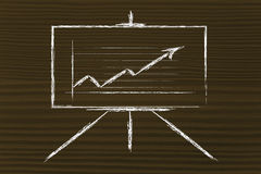 Konferenzzimmer whiteboard Stand mit positivem Statistikdiagramm Stockfotos